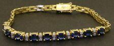 Heavy 18K gold high fashion 4.66CTW VS/G diamond & Blue sapphire link bracelet