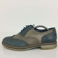Dice Blue & Grey Leather Brogue Lace Up Comfort Formal Shoe Men Size UK 7 Eur 41
