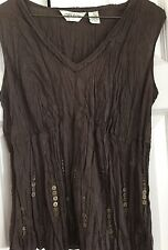 ORVIS ebellished brown tank top, size S