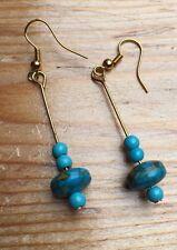 Fab Gold & Turquoise Drop Earrings/Bar & Pebble Shape/Dangly/Egyptian Revival Lk