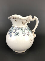 Antique Victorian / Aesthetic Movement ceramic pitcher, blue flowers 1880s 1890s