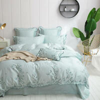 Egyptian Cotton Bedding Set Luxury  Embroidered Duvet Cover Fitted Bedsheet Set
