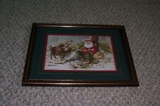 "Home Interiors Homco Peggy Abrams Santa Reindeer 12 1/2"" X 15 1/2"" Frame Picture"