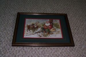 """HOME INTERIORS HOMCO PEGGY ABRAMS SANTA REINDEER 12 1/2"""" X 15 1/2"""" FRAME PICTURE"""