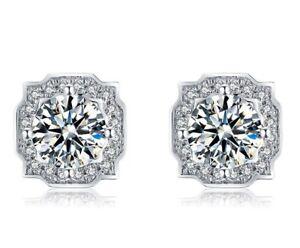 Moissanite Diamond Stud Earrings Genuine Solitaire Earrings W/ Certificate .5ct