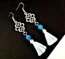 Blue Agate Pair of Frosted Gemstone Cotton Tassel Earrings & 925 Hooks - #168