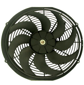 """NEW BLACK 16""""  HIGH PERFORMANCE REVERSIBLE ELECTRIC COOLING FAN S-BLADE 2300 CFM"""
