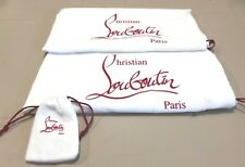 """CHRISTIAN LOUBOUTIN SET OF 3 COTTON DUST BAGS  11.5"""" X 15""""  WHITE/RED  NWOT"""