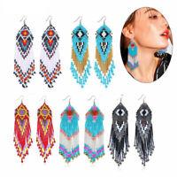 Multicolour Seed Beaded Earrings Bohemian Long Drop Dangle Handmade Jewelry B6
