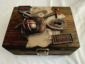 Wooden Fireman Hero Treasure Chest Trinket Art Bin 5.1/2 X 7.1/2 In