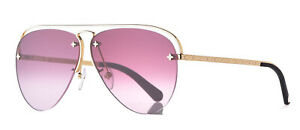 """Louis Vuitton """"Grease"""" Aviator Pink Gradient Lenses Gold Tone Frame"""