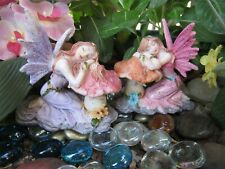 "2 Fairy Garden Miniature 3"" Sparkly fairy figurines Dressed in Purple & Pink New"