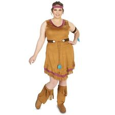 New Womens Ladies PLUS 1X Native American Indian western dress complete Costume