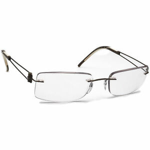 Silhouette Eyeglasses Brown Rimless Metal Frame 52[]19 135
