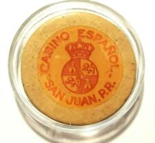 Rare CASINO ESPANOL PUERTO RICO White Chip SAN JUAN Smooth Crest Seal 1890-1920s