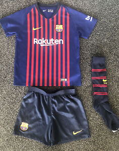 Kids Barcelona Kit Strip Shorts & Tshirt & Socks Age 5-6 (medium) 2018