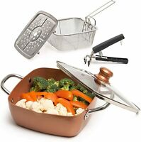 NEW 5 Piece Set Chef Cookware, Non Stick Pan, Deep Square Pan, Fry Basket 5 Qt