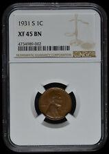 1931 S Wheat Penny NGC XF 45