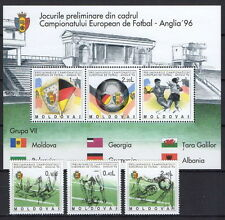 "Moldova 1994 ""European Football Championship Qualifiers"" 3 MNH stamps + Block"