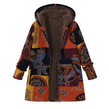 UK Size 22 Women Fleece Zip Coat Hooded Long Sleeve Fluffy Jacket