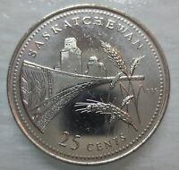 1992 CANADA 25¢ SASKATCHEWAN BRILLIANT UNCIRCULATED QUARTER COIN