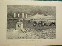 C1890 Antico Stampa ~ Mongolo Deserto Tomb di Un Lama & Encampment