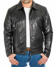 Mens New Black Soft Lamb Leather Casual Smart Fitted Zipped Bomber Collar Jacket
