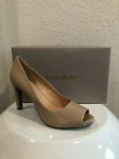 FRANCO SARTO Nimbus2 Peep Open Toe Patent Heels Shoes Beige US 10M