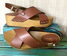 NEW Urban Outfitters Sam Edelman tan brown Leather Flatform Wood Clog Sandals 9