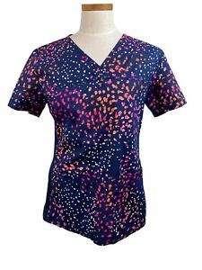 Cherokee Women's Modern Classic Scrub Top with Stretch Size Small Abstract Dots