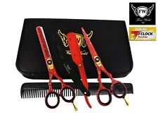 Professional Black Hairdressing Thinning Barber Scissors Set 5.5 Inch+Razor