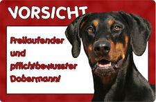DOBERMANN - A4 Metall Warnschild SCHILD Hundeschild Alu Türschild - DBM 17 T6