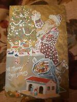 Polka dot RED Robe Santa Christmas Tree Village Merry Christmas Emboss Postcard