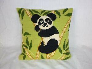 "Vtg Completed Needlepoint Panda Pillow From Wonderart Kit #5762 11"""