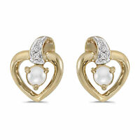 14k Yellow Gold Freshwater Cultured Pearl And Diamond Heart Earrings