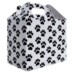 10 x DOG CAT PAW PRINT GABLE BOX - White & Black Gift Box, Gift Bag, Pet Hamper