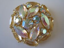 """Gold Tone Marquise AB Glass Rhinestone Pin Brooch Domed 1.5"""""""