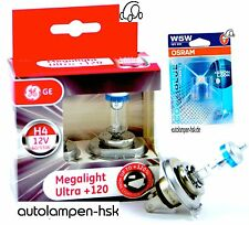 GE h4 Megalight Ultra +120% + OSRAM w5w Cool Blue Intense 4000k + + TOP