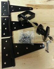 "Door Hardware Kit: T handle lock, 6"" T hinges, Screws. For Shed, Gate, Playhouse"