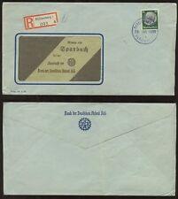 CZECHOSLOVAKIA 1939 REGISTERED ADVERT ENVELOPE BANK DEUTSCHEN ARBEIT SUDETENLAND