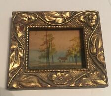 Framed signed miniature autumn painting in ornate wood frame