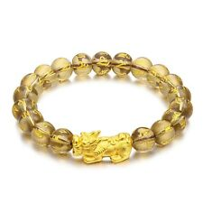 "Pure 24k Yellow Gold Luck Pixiu Smoky Quartz Motto Beads Link Bracelet 6.7""L"