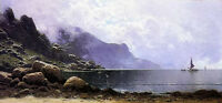 Oil painting alfred thompson bricher - mist clearing, grand manan landscape art