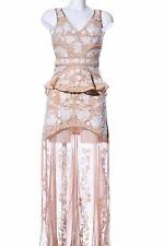 FOR LOVE & LEMONS Abendkleid nude-weiß Blumenmuster extravaganter Stil Damen