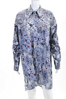 Isabel Marant Etoile Womens Cotton Floral Button Down Ussaya Dress Blue Size XL