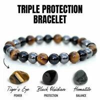 8/10 mm Tiger Eye Natural Stone Obsidian Beaded Bracelet Men Bangle Jewelry Gift