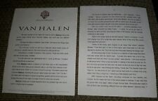 Van Halen Sammy Hagar 1995 Balance album Press Release Bio Kit 4 Pages Original