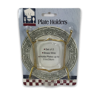 "Plate holders Set of 2 brass wire plate holders up to 11"" 28cm New"