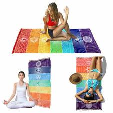 Rainbow Chakra Wall Tapestry Towel Carpet Mandala Boho Stripes Travel Yoga Mat