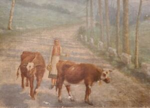2 ANTIQUE SCANDINAVIAN NORWEGIAN OIL ON CANVAS PAINTINGS LADY & COWS FOLK ART